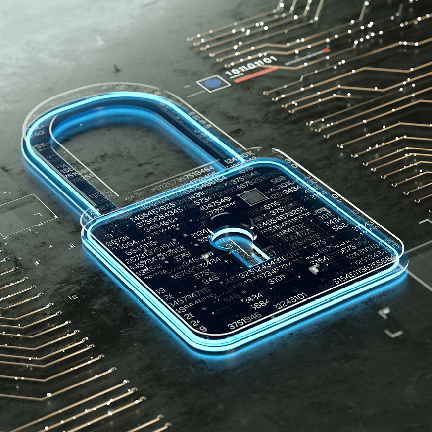 Image of a padlock superimposed onto a motherboard